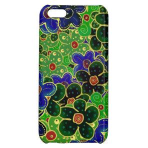 dark forest greens bright shiny maroon blue flower iPhone 5C case