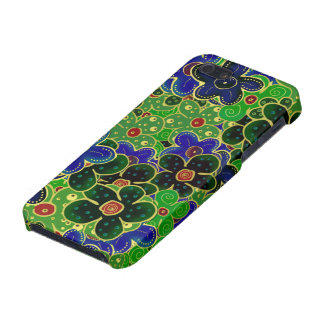 dark forest greens bright shiny maroon blue flower iPhone SE/5/5s case