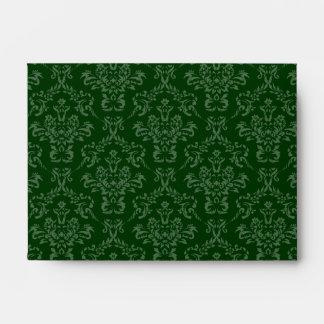 Dark Forest Hunter Green A6 Damask Envelopes