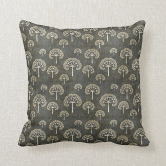 Dark Fractal Tree Pattern Throw Pillow