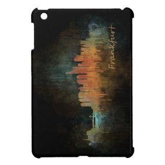 Dark Frankfurt Germany City Watercolor Skyline v4 iPad Mini Covers