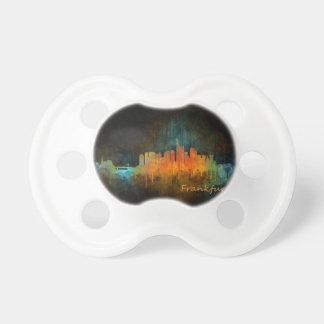 Dark Frankfurt Germany City Watercolor Skyline v4 Pacifier