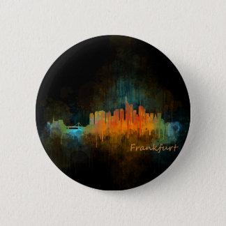 Dark Frankfurt Germany City Watercolor Skyline v4 Pinback Button