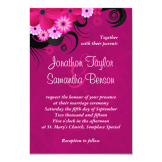 "Dark Fuchsia Floral 3.5"" x 5"" Wedding Invites"