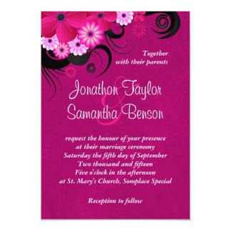 "Dark Fuchsia Floral 5"" x 7"" Wedding Invites"