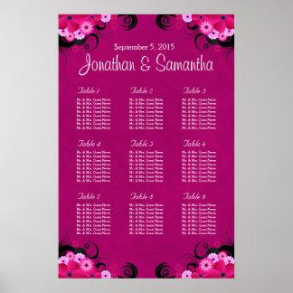 Dark Fuchsia Floral Wedding 9 Table Seating Chart
