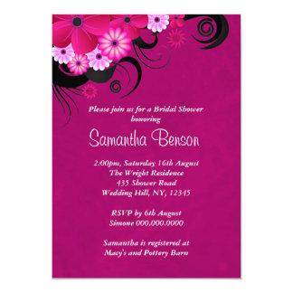 Dark Fuchsia Floral Wedding Bridal Shower Invites