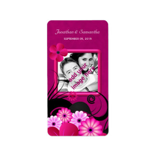 Dark Fuchsia Floral Wedding Photo Favor Labels