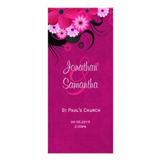 Dark Fuchsia Floral Wedding Program Template Card