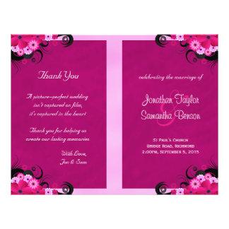 Dark Fuchsia Floral Wedding Program Templates