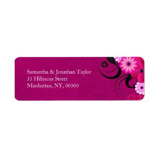 Dark Fuchsia Floral Wedding Return Address Labels