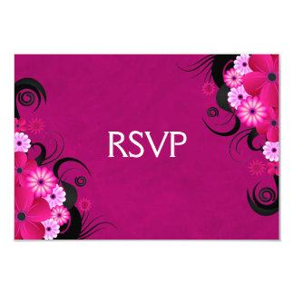 Dark Fuchsia Floral Wedding RSVP Response Cards