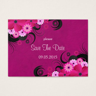 Dark Fuchsia Floral Wedding Save The Date Cards
