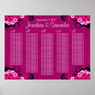 Dark Fuchsia Floral Wedding Table Seating Charts