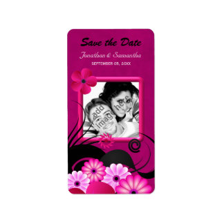 Dark Fuchsia Photo Save The Date Favor Labels