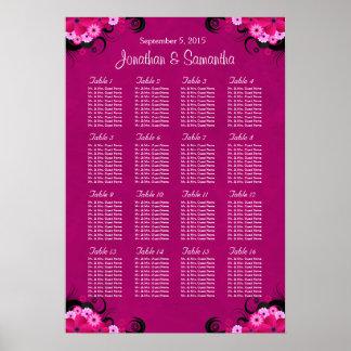 Dark Fuschia 16 Wedding Table Seating Charts