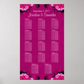 Dark Fuschia Floral 14 Wedding Table Seating Chart