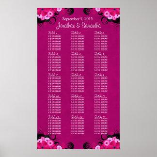 Dark Fuschia Floral 15 Wedding Table Seating Chart