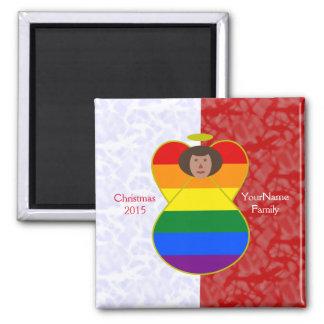 Dark Gay Pride Rainbow Angel Flag Red White 2 Inch Square Magnet