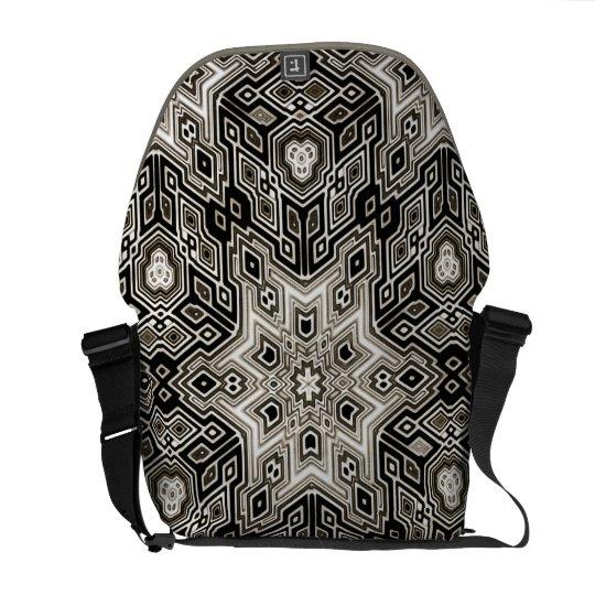 Dark Geometric Cube Design Messenger Bag