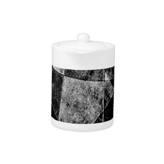 Dark Geometric Grunge Pattern Print Teapot