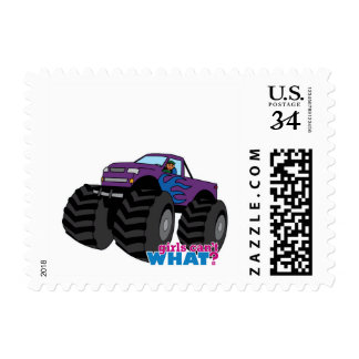 Dark Girl Driving Purple Monster Truck Postage