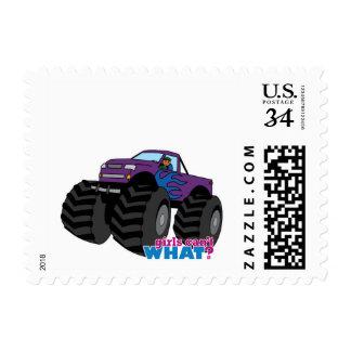 Dark Girl Driving Purple Monster Truck Postage Stamp