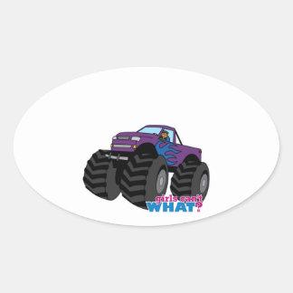 Dark Girl Driving Purple Monster Truck Oval Sticker