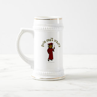 Dark Girl Graduate in Red Cap and Gown Beer Stein