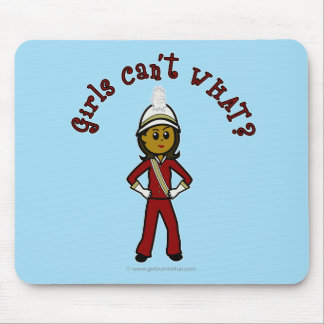 Dark Girl in Red Marching Band Uniform Mouse Pad