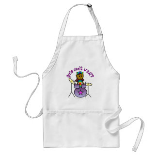 Dark Girl Playing Drums Adult Apron