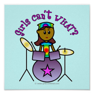 Dark Girl Playing Drums Posters