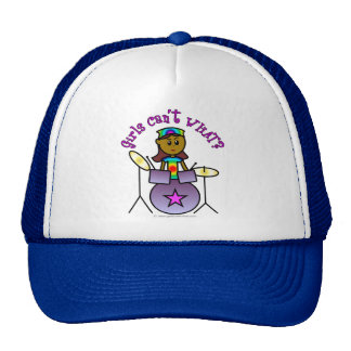 Dark Girl Playing Drums Trucker Hat