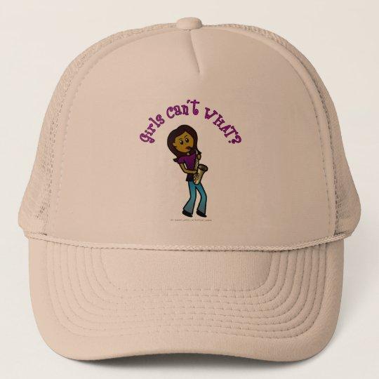Dark Girl Playing Saxophone Trucker Hat