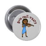 Dark Girl Playing Violin Button