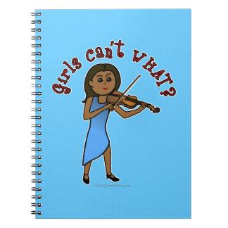 Dark Girl Playing Violin Spiral Notebook