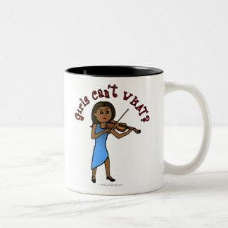 Dark Girl Playing Violin Two-Tone Coffee Mug