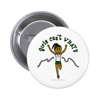 Dark Girl Runner in Green Uniform 2 Inch Round Button