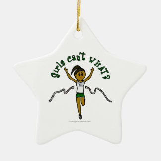 Dark Girl Runner in Green Uniform Christmas Tree Ornaments