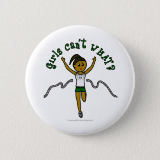 Dark Girl Runner in Green Uniform Pinback Button