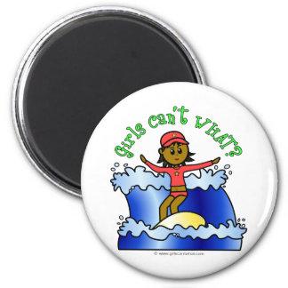 Dark Girl Surfer 2 Inch Round Magnet