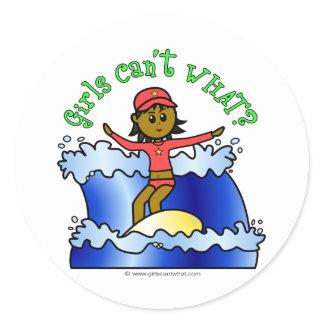 Dark Girl Surfer Classic Round Sticker