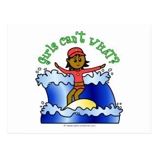Dark Girl Surfer Postcard