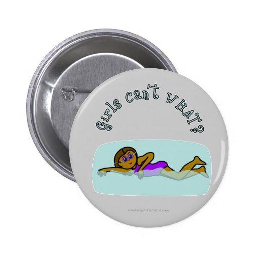 Dark Girl Swimming 2 Inch Round Button