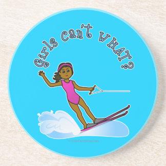 Dark Girl Water Skier Drink Coasters