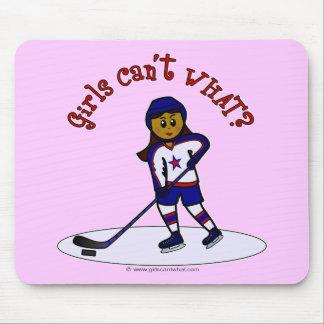 Dark Girls Hockey Player Mousepads