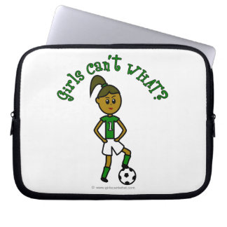 Dark Girls Soccer in Green Uniform Computer Sleeve