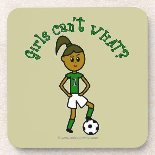 Dark Girls Soccer in Green Uniform Drink Coaster