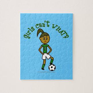 Dark Girls Soccer in Green Uniform Jigsaw Puzzles