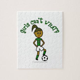 Dark Girls Soccer in Green Uniform Puzzle